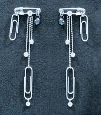 Westwood's white gold and diamond paper-clip earrings.