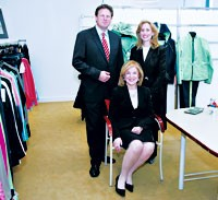 Victor Rousso, Natalie Rousso (seated) and Amy Taub Kahn of Rousso Apparel Group in the company's new showroom.