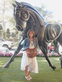 Karan with Weiss' horse sculpture at the Wynn.