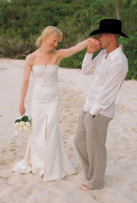 Renee Zellweger in Carolina Herrera, with husband Kenny Chesney.