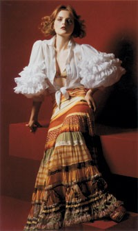 Jean Paul Gaultier's big skirts are selling well at Neiman Marcus and Bloomingdale's. Here, a Gaultier skirt featured in the Neiman Marcus catalogue.