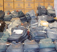 Counterfeit jeans seized by U.S. Customs in New York.