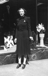 The founder's wife, Pauline Kaye, outside the 57th Street store.