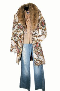 Brocade jacket and jeans from Buffalo.