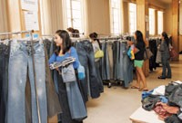 College coeds and others shop the Underground Denim sample sale.