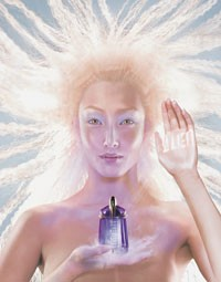 Model Tina Baltzer is the face of Thierry Mugler's Alien.