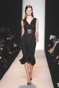 Wang's sleeveless black wrap dress was a top item at Bergdorf's trunk show.