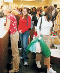 Despite lousy weather, shoppers still found reason to buy.