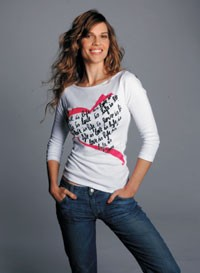 """Hilary Swank in the DVF-designed """"Key to the Cure"""" T-shirt."""