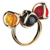 DeGrisogono's gold, amber, onyx and red agate ring.