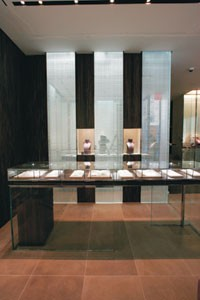 A counter display in the foyer of De Beers LV's new Manhattan flagship.