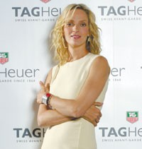 Uma Thurman, the new face of Tag Heuer.