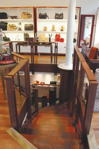 Bill Amberg's accessories on the ground floor of its new boutique.