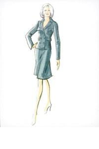 Oleg Cassini's sketch for Kim Basinger.
