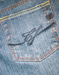 The pocket design showcases the CJ Blue signature.