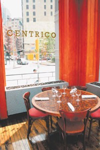 A corner table at Centrico.