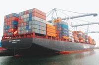 A cargo ship.