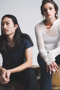 Eugene Ong with a model.
