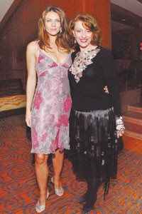 Elizabeth Hurley and Evelyn Lauder at the Four Seasons Boston.