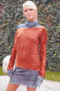 Avant-Toi's sprayed silk-steel knitted dress layered with a sprayed cotton jersey T-shirt.