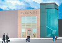 A rendering of the Bulgari storefront at the Collection at Chevy Chase.