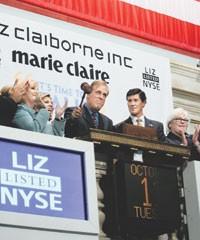 Lesley Jane Seymour, Paul Charron, John Thain of the New York Stock Exchange and Trudy Sullivan of Liz Claiborne Inc.