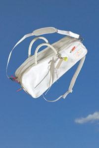 The nylon tennis bag.