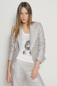 Couture Couture's cotton, acetate and metal suit with viscose and silk jeweled tank.