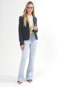 Tommy Hilfiger's cotton and polyester blazer and cotton shirt with J. Crew's cotton pants. Robi glasses; Kate Spade shoes.
