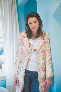 Biya's embroidered silk coat over a JW Los Angeles embroidered T-shirt.