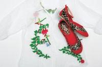 Dick & Jayne's cotton organdy blouse and vinyl ballet slipper.