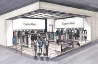 A rendering of the newly designed shop-in-shops for Calvin Klein.