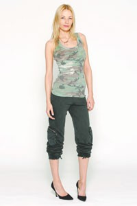 Torn's camouflage tank with tapered sweatpants.