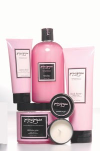 Select items from Principessa's bath and body line.
