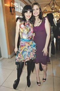 Zooey Deschanel in Missoni with Emily Deschanel.