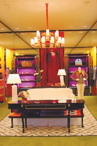 Interior of the Tory Burch boutique.