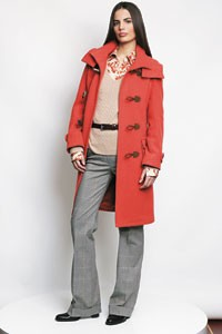Nautica's wool and nylon duffle coat, cashmere sweater, silk georgette blouse and cotton stretch glen plaid trouser.