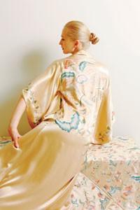 Natori's silk robe and coordinating Natori Home throw.