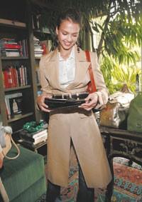 Jessica Alba in a Versace coat.