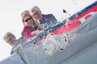 Miuccia Prada and Patrizio Bertelli launching the new Luna Rossa yacht.