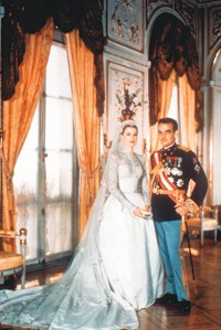 Princess Grace and Prince Rainier on their wedding day.