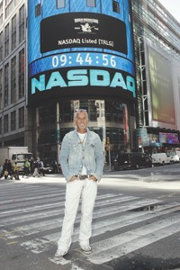 Jeff Lubell at the Nasdaq market site in Times Square.