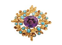 John Donald's 1965 gold tube brooch set with amethysts and turquoise.