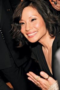 Lucy Liu at Longchamp.