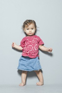 A Little Marc T-shirt and denim miniskirt from the current collection.