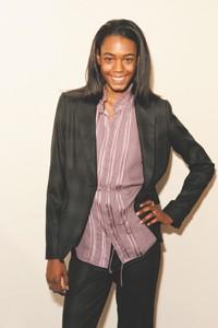 Signature chiffon blouse, $298; jacket, $468, and pants, $268.