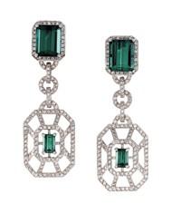 Judith Leiber Fine Jewelry diamond and tourmaline earrings.