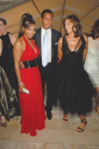Janet Jackson in Bill Blass with Terrence Howard and Donna Karan.