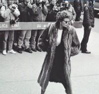 Sophia Loren outside Andy Warhol's memorial in 1987.