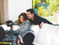 Ellen Pompeo and Patrick Dempsey shoot the New York and Co. ad campaign.